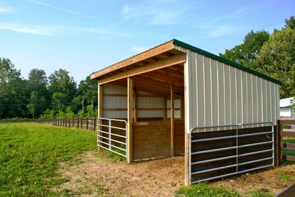 horse shed that is easier to clean than a barn stall